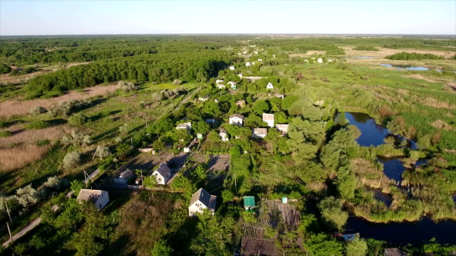 Aerial shot of summer cottages, small lakes and reedbeds in Ukraine in summer video