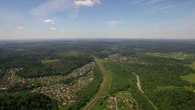 Aerial shot of summer houses in the woods, Russia video