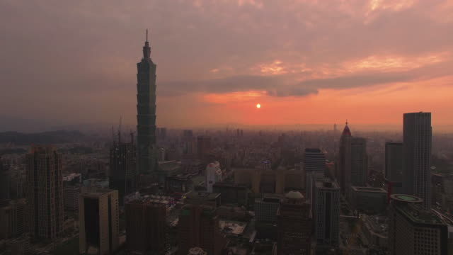 Aerial shot of Taipei at sunset, Taiwan video