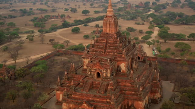 Aerial shot of the Bagan temples area video