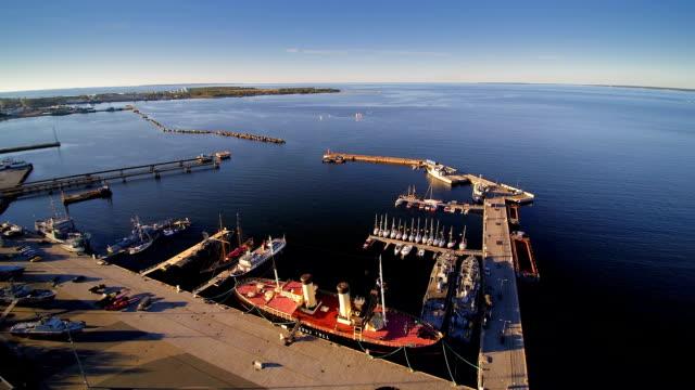 Aerial shot of the beautiful seaplane harbor video
