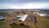 Aerial shot of the big farm in the country video