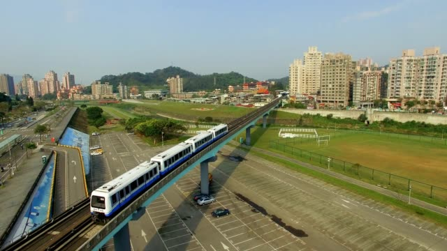 Aerial shot of the Taipei MRT is one of the best way to travel around the city. video