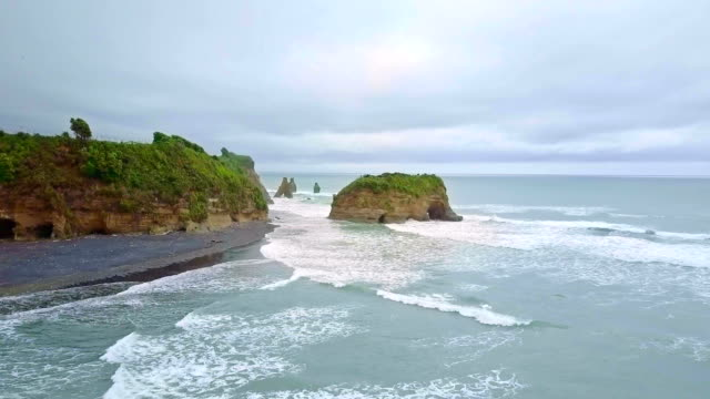 Aerial Shot of The Three Sisters and Elephant Rock, Taranaki, New Zealand. video