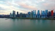NYC Aerial Shot Of The Upper Westside Pier Flying Towards Midtown video