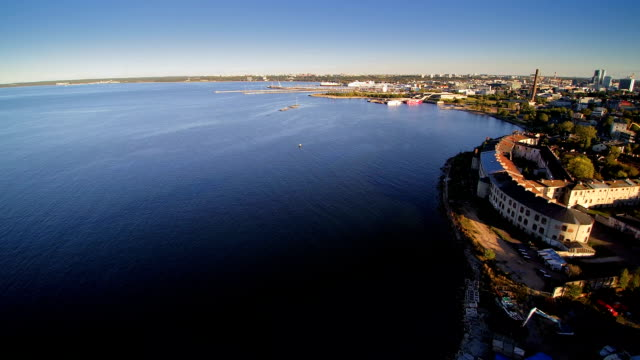 Aerial shot of the wide sea near of the harbor video
