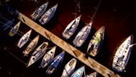 Aerial shot of the yachts and boats on dock video