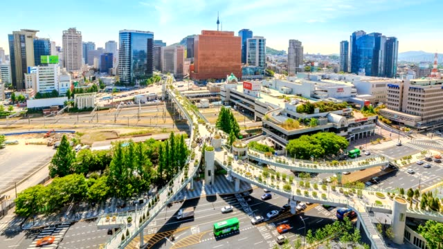 Aerial shot of traffic and architecture in Seoul Station,Seoul City South Korea video