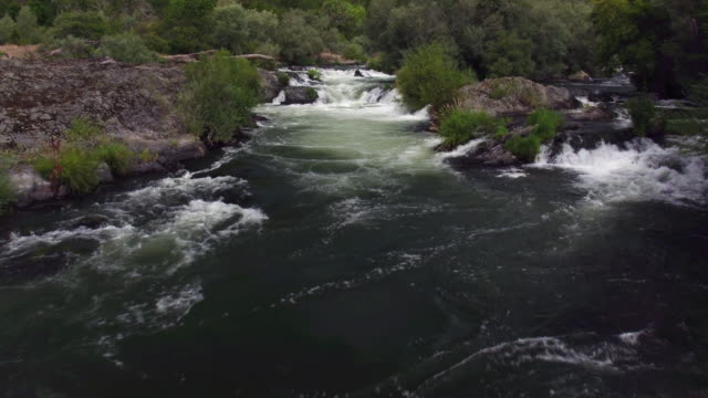 Aerial shot of white water rapids, Rouge River, Oregon video