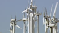 Aerial shot of wind turbines in Southern California video