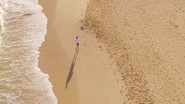 Aerial Shot of Young Fit Athletic Man Running on Beach video