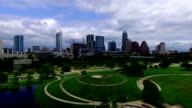 Aerial Shot Over Iconic Austin Hilltop Butler Park and Auditorium Shores video