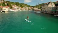 Aerial Shot SUP Stand Up Paddling in Croatia video