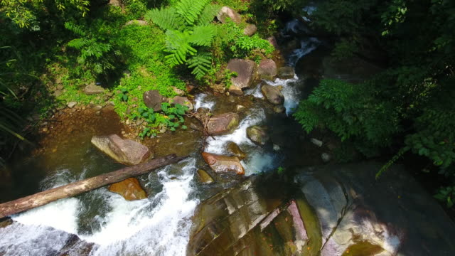 Aerial shot tone prew waterfall in satun south Thailand video