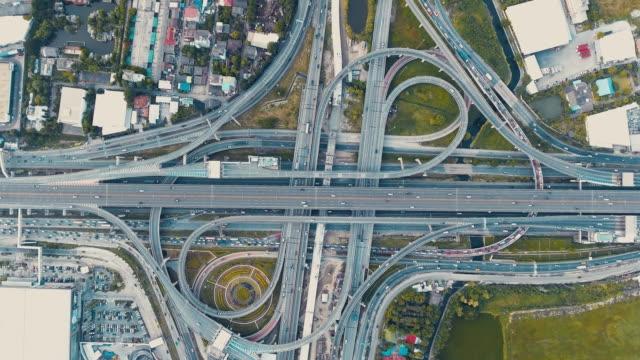 Aerial shot traffic highway video