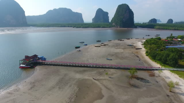 Aerial shot village near the beach krabi and trang south of  Thailand video