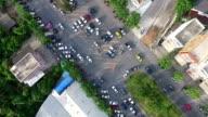 Aerial shot:Bad traffic,People buy in market video