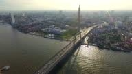 Aerial shot:Bridge and River Silhouette video
