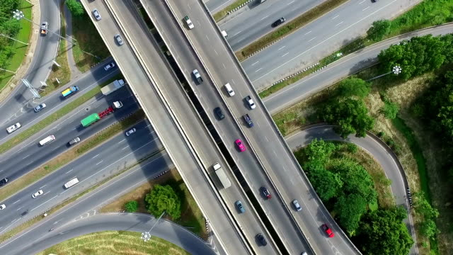Aerial shot:Busy freeway in Bangkok Thailand video