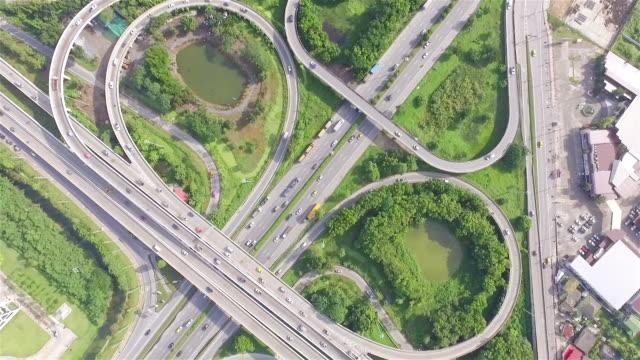 Aerial shot:Busy freeway in Bangkok Thailand video