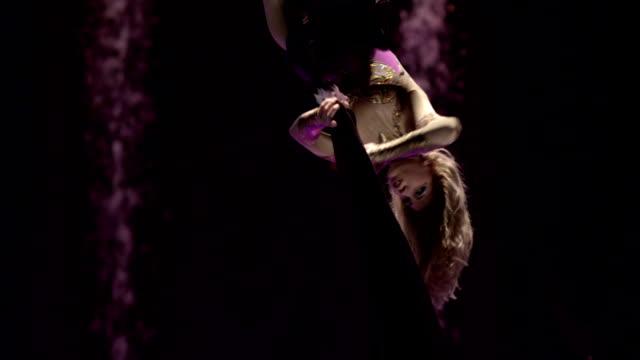 Aerial silk gymnast. video