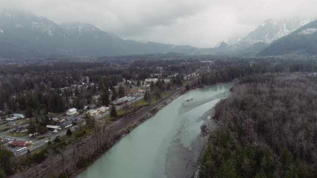 Aerial Skykomish River Mt Index video