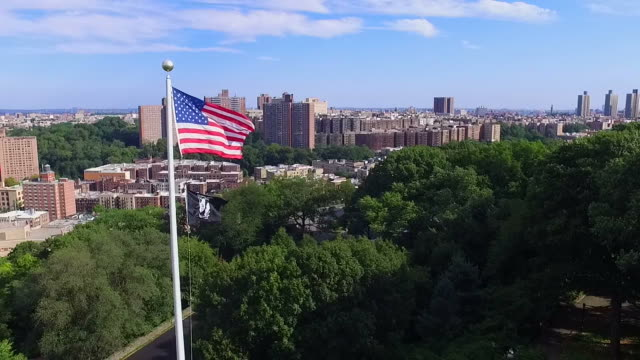 Aerial Slow Motion Pass By American & POW Flag video