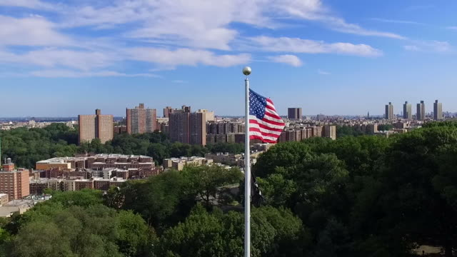 Aerial Slow Motion Past American Flag & POW Flag video