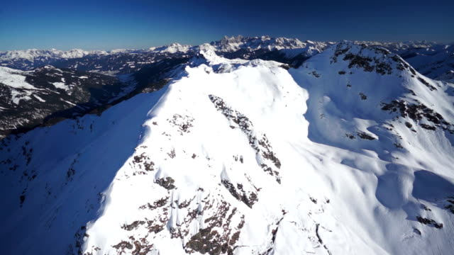 aerial snow covered mountain panorama video