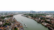 Aerial Stock Footage of Canary Wharf And River Thames, London England video