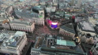Aerial Stock Footage Orbiting Piccadilly Circus London, England 4K video