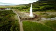 Aerial Strokkur Geysir eruption - Island video