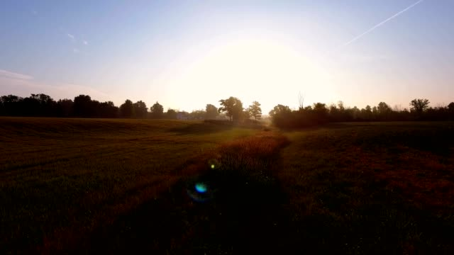 Aerial Sunrise Over Rural Farm Country video