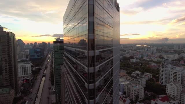 Aerial sunrise view Bangkok video