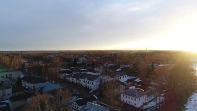 Aerial. Sunset over a quiet town. video