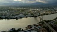 Aerial sunset view Alex Fraser Bridge, Vancouver video