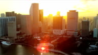 Aerial sunset view Bayfront Park, Miami video