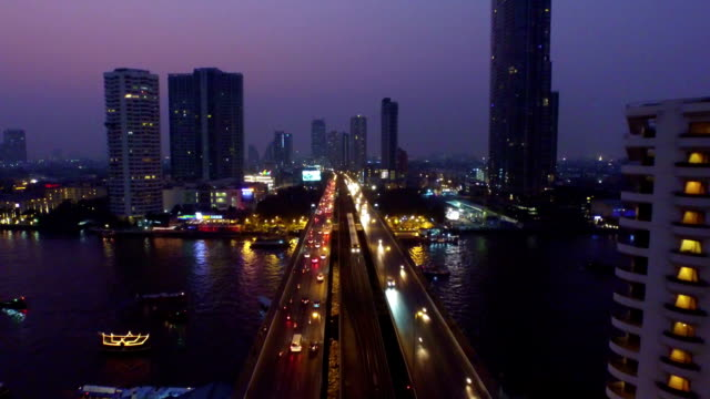 Aerial sunset view of the Taksin Bridge,Bangkok video