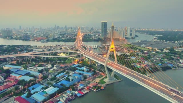 Aerial sunset view shot of the Bhumibol Bridge,Bangkok video