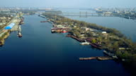 Aerial survey of cargo port video