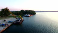 Aerial Survey of The River With Ships video