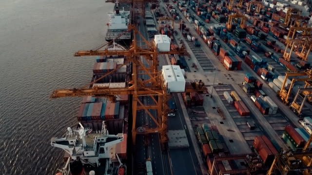 Aerial Thailand Container Terminal video