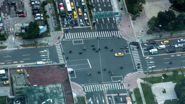 Aerial time lapse of traffic in the streets of Taipei. video