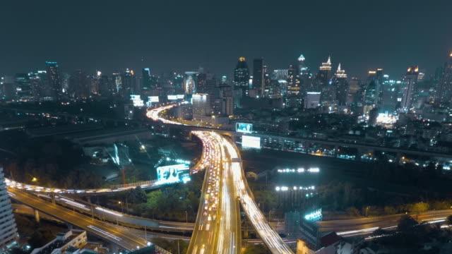 aerial time lapse shot of Bangkok city night scene video