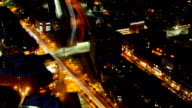 Aerial timelapse of the Boston city center at night with zoom out video