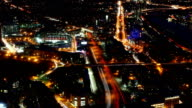 Aerial timelapse of the Boston Skyline at night with zoom out video