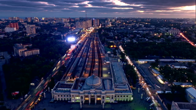 Aerial Timelapse of Odessa Train Station on sunset video