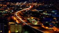 Aerial timelapse of San Antonio expressways at night video