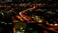 Aerial timelapse of San Antonio, Texas expressways at night video