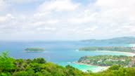 Aerial Time-lapse of  tropical Kata Beach andaman sea Phuket Thailand video